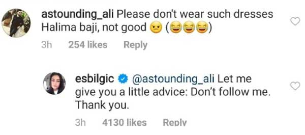 Esra Bilgic reply to a fan