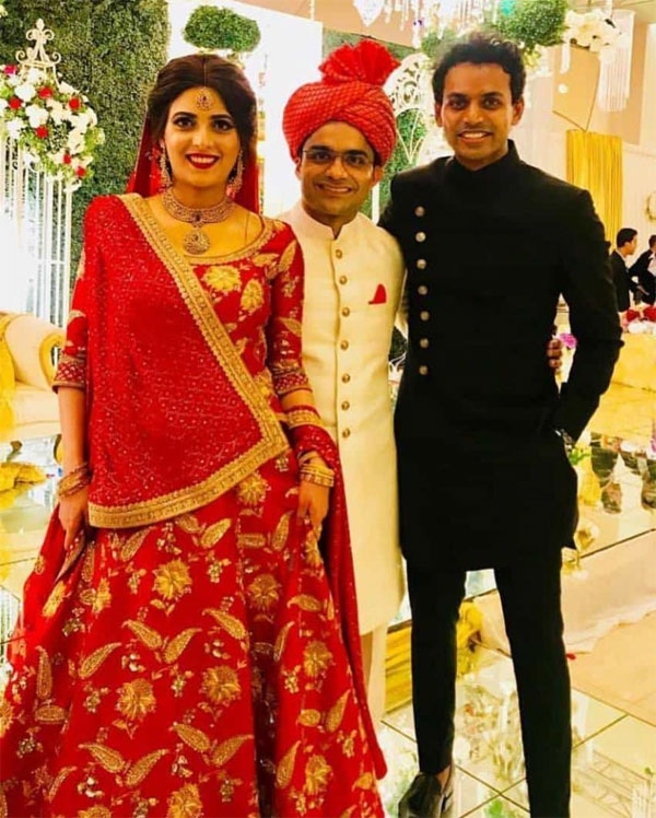 Shahzeb Khanzada with his wife and news anchor