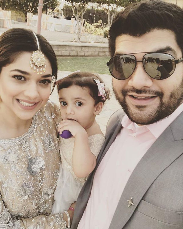 Sanam Jung with her husband and daughter